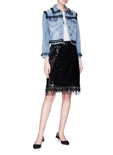 Marc Jacobs Organza underlay sequin embroidered beaded fringe skirt