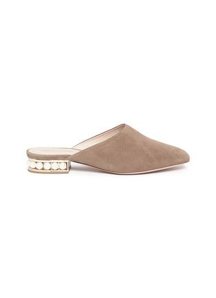 Main View - Click To Enlarge - Nicholas Kirkwood - 'Casati' faux pearl heel suede mules
