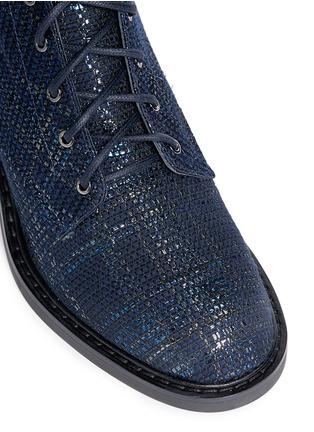 Detail View - Click To Enlarge - Nicholas Kirkwood - 'Casati' faux pearl heel tweed combat boots