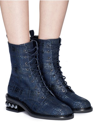 Front View - Click To Enlarge - Nicholas Kirkwood - 'Casati' faux pearl heel tweed combat boots