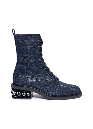 Main View - Click To Enlarge - Nicholas Kirkwood - 'Casati' faux pearl heel tweed combat boots