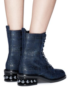 Nicholas Kirkwood 'Casati' faux pearl heel tweed combat boots