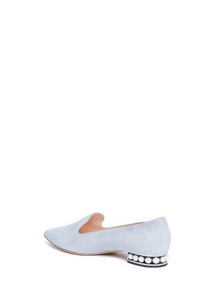Detail View - Click To Enlarge - Nicholas Kirkwood - 'Casati' faux pearl heel suede skimmer loafers