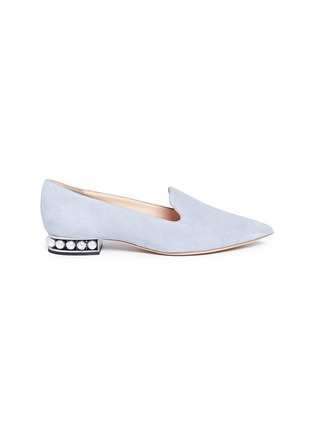 Main View - Click To Enlarge - Nicholas Kirkwood - 'Casati' faux pearl heel suede skimmer loafers