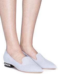 Nicholas Kirkwood 'Casati' faux pearl heel suede skimmer loafers