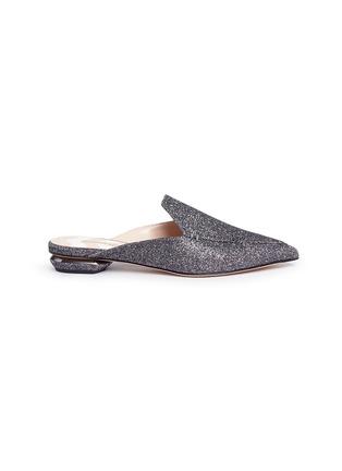Main View - Click To Enlarge - Nicholas Kirkwood - 'Beya' metal heel Lurex loafer mules