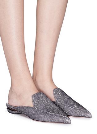 Figure View - Click To Enlarge - Nicholas Kirkwood - 'Beya' metal heel Lurex loafer mules