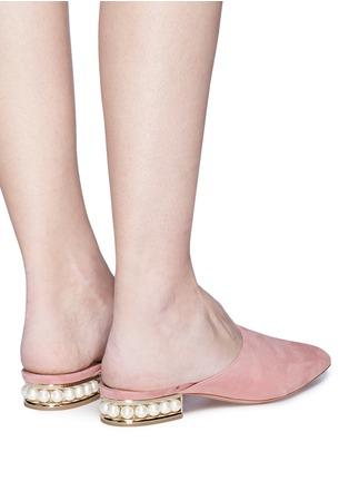 Front View - Click To Enlarge - Nicholas Kirkwood - 'Casati' faux pearl heel suede mules