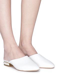 NICHOLAS KIRKWOOD Casati人造珍珠鞋跟真皮穆勒拖鞋