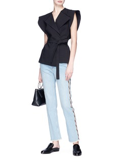 Isabel Marant Étoile 'Colan' serrated stripe embroidered outseam straight leg jeans