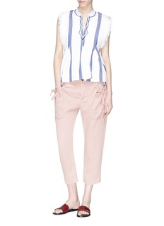 Isabel Marant Étoile 'Weaver' bow ruched pocket cropped twill pants