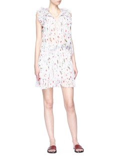 Isabel Marant Étoile 'Erell' ruched sleeve graphic print crepe blouse