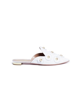 Main View - Click To Enlarge - Aquazzura - 'Sunflower' embellished studded moire slides