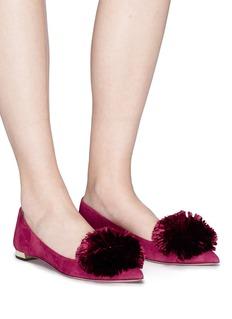 AQUAZZURA Powder Puff Ballet毛球绒面真皮芭蕾平底鞋