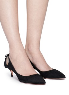 Aquazzura 'Forever Marilyn' tassel bow cutout suede pumps