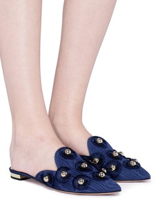 Aquazzura 'Sunflower' embellished studded moire slides