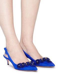 Aquazzura 'Sunflower' embellished suede sling back pumps