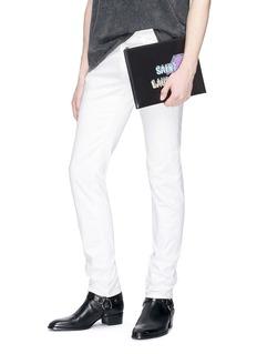 SAINT LAURENT Eclair品牌名称闪电印花真皮手拿包