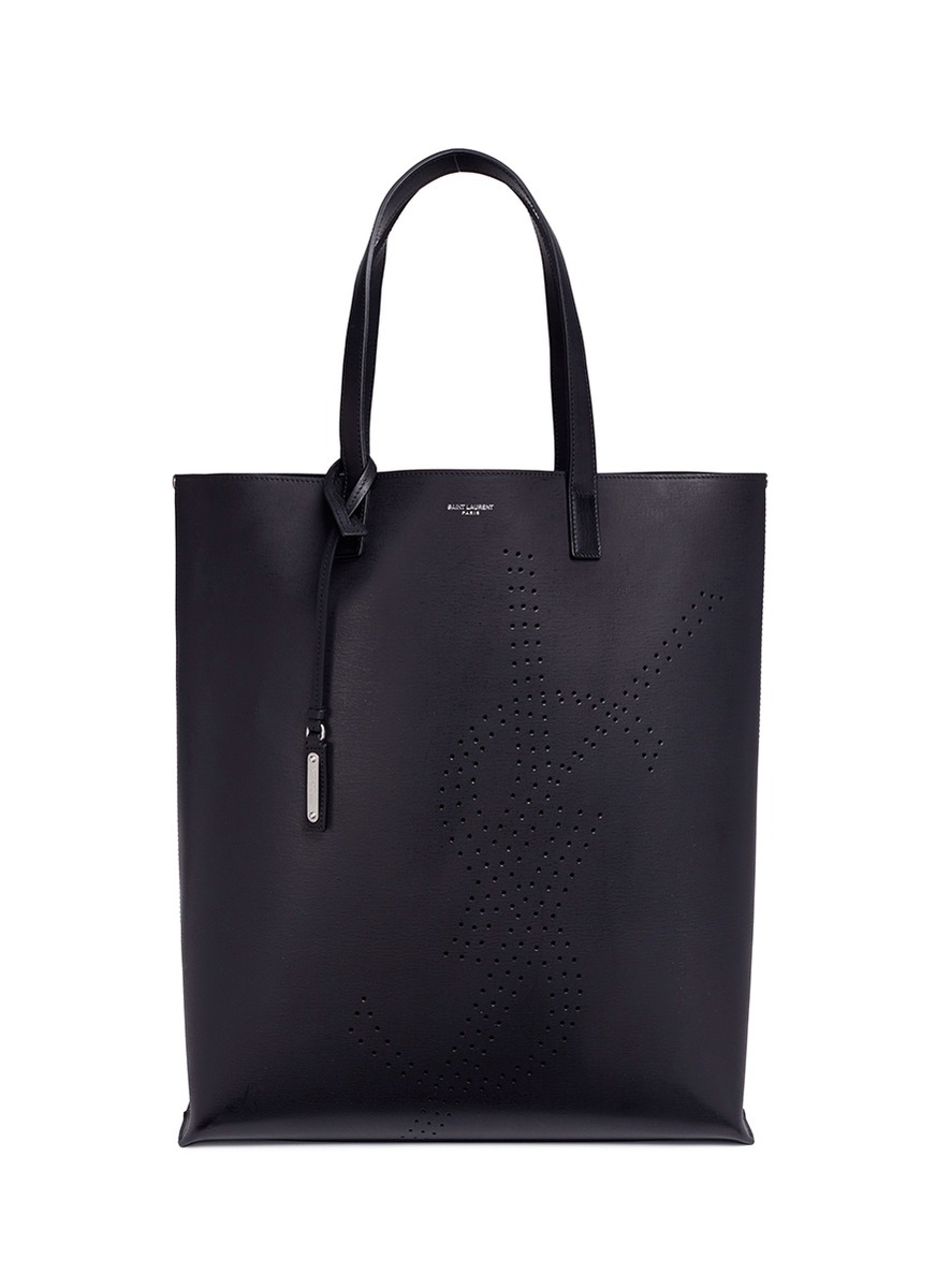 Perforated-logo leather tote bag Saint Laurent BhDAdg2Jx