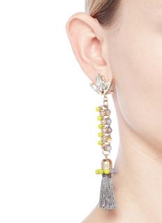 Anton Heunis 'Amy 3.11' Swarovski crystal agate tassel chain earrings