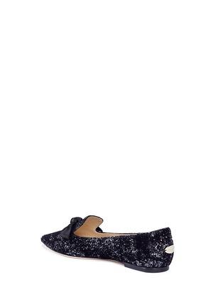Detail View - Click To Enlarge - Jimmy Choo - 'Gabie' satin bow glitter devoré velvet loafers