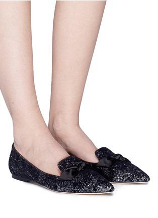 Figure View - Click To Enlarge - Jimmy Choo - 'Gabie' satin bow glitter devoré velvet loafers