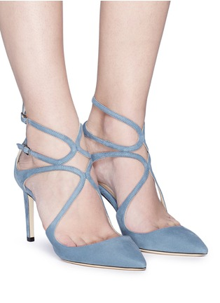 Figure View - Click To Enlarge - Jimmy Choo - 'Lancer 85' strappy suede pumps