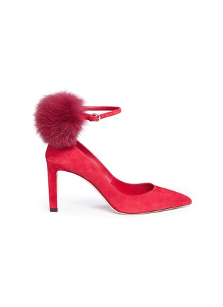 Main View - Click To Enlarge - Jimmy Choo - 'South 85' fox fur pompom suede pumps