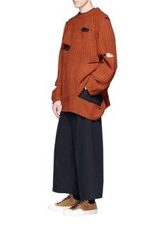 MIHARAYASUHIRO Cutout mixed knit sweater