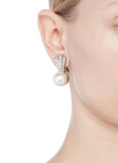 Kenneth Jay Lane Pavé glass crystal pearl clip earrings