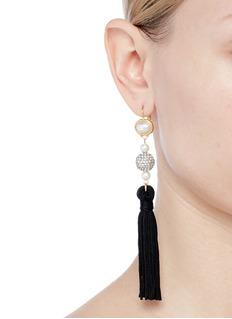 Kenneth Jay Lane Glass pearl crystal sphere tassel drop earrings