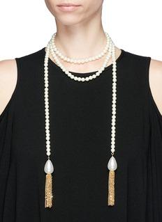 KENNETH JAY LANE 金属流苏人造珍珠长款项链