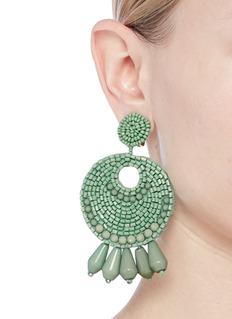 Kenneth Jay Lane Beaded cutout circle drop clip earrings