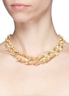 Kenneth Jay Lane Glass pearl floral tiered necklace