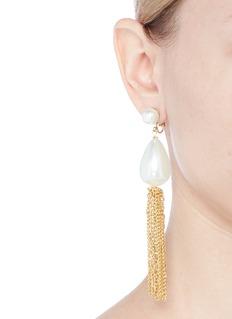 Kenneth Jay Lane Glass pearl chain tassel clip earrings