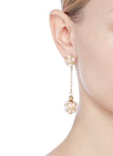 Kenneth Jay Lane Glass pearl cluster ball drop earrings