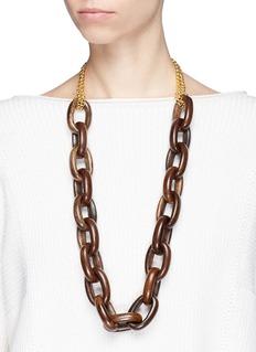 Kenneth Jay Lane Interlocking wooden chain necklace