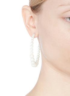 Kenneth Jay Lane Glass pearl beaded hoop earings