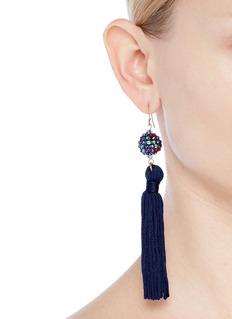 Kenneth Jay Lane Glass crystal sphere tassel drop earrings