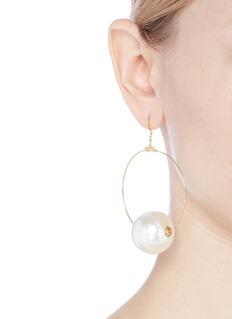 Kenneth Jay Lane Glass pearl sphere hoop earrings