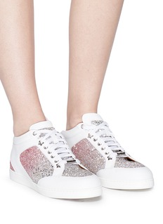 Jimmy Choo 'Miami' leather panel dégradé coarse glitter sneakers