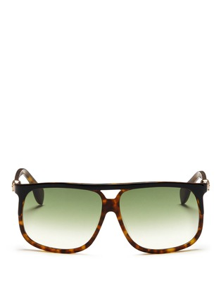Main View - Click To Enlarge - Alexander McQueen - Skull oversized square tortoiseshell sunglasses