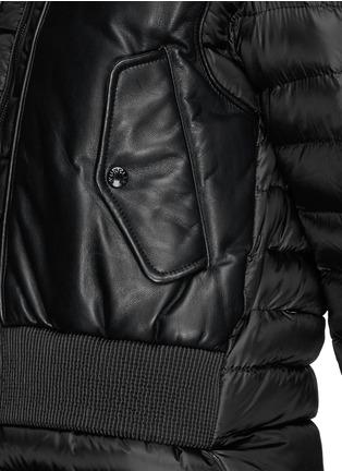 细节 - 点击放大 - Moncler Capsule - 真皮拼贴羽绒夹克