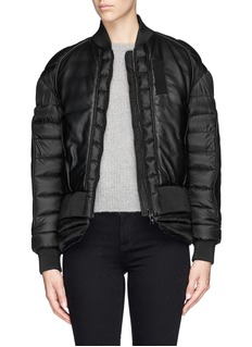Moncler Capsule 'Jasumin' leather front quilted nylon down jacket