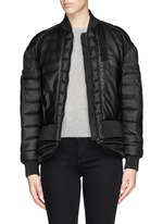 'Jasumin' leather front quilted nylon down jacket