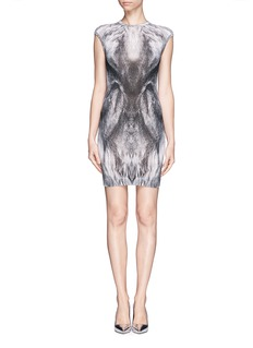 ALEXANDER MCQUEEN Fox fur print bodycon dress
