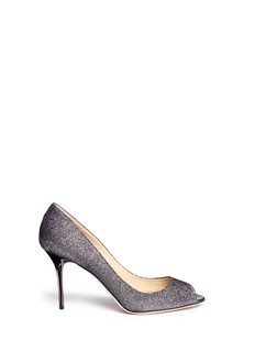 JIMMY CHOO 'Evelyn' lamé glitter peep toe pumps