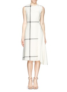 3.1 PHILLIP LIM Windowpane check hopsack and satin dress
