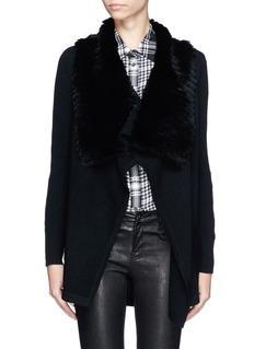 THEORY'Maritza' rabbit fur collar cardigan