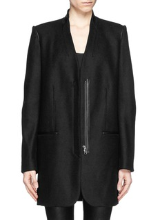 HELMUT LANGLeather trim wool combo coat